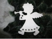 """Декор из пенопласта """"Ангел с дудочкой"""" h34см; w3см/подвес/блеск (1шт)"""