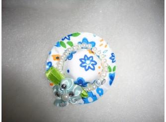 Шляпка-малютка небесно-голубая с жемчужинками (1шт)