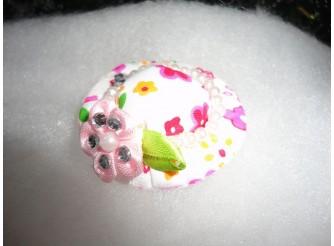 Шляпка - малютка романтично-розовая с жемчужинками (1шт)
