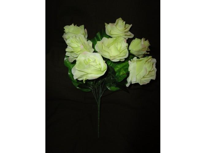 Букет роз с широким листом белый h45cм, 7 голов (1шт)