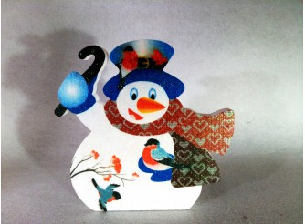 """Декор из пенопласта """"Снеговик и снегири"""" h30см/принт (1шт)"""