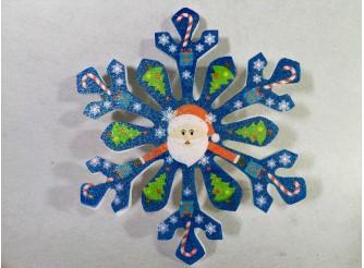 """Снежинка """"Дед Мороз и леденцы""""/пенопласт/принт (1шт) Выбор диаметра"""