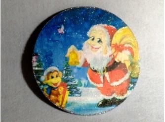 """Диск с картинкой """"Санта Клаус с обезьянкой""""/пенопласт/принт (1шт) Выбор диаметра"""