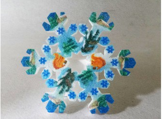 """Снежинка """"В зимнем лесу""""/пенопласт/принт (1шт) Выбор диаметра"""