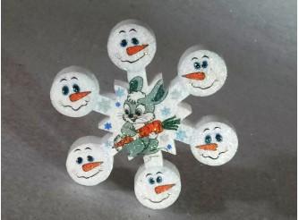 """Снежинка  """"Зайчик со снеговиками""""/пенопласт/принт (1шт) Выбор диаметра"""