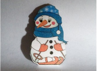 """Декор из пенопласта """"Снеговик на лыжах"""" h25см/принт (1шт)"""