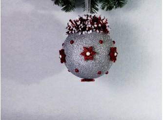 """Новогодний шар с декором """"Серебристая зима"""" Ø20 см  (1шт)"""