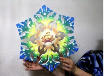 """Снежинка """"Две свечи""""/пенопласт/принт (1шт) Выбор диаметра"""