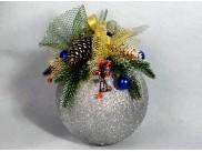 "Новогодний шар с декором ""Еловая ветка "" Ø20 см  (1шт)"