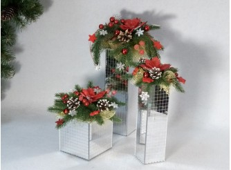 """Новогодняя композиция """"Рождественское Зазеркалье"""" h35 см (1шт)"""
