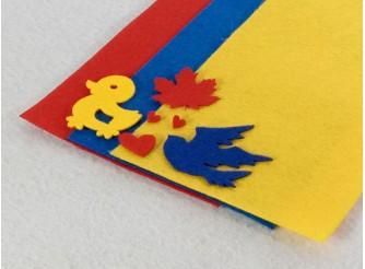 """Твердый фетр 1мм """"Красный, синий, желтый"""" 15*15см (набор 3 шт)"""