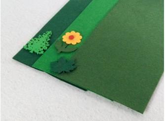 """Твердый фетр 1мм """"Т.зеленый, зеленый, травяной"""" 15*30см (набор 3 шт)"""