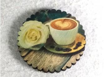 "Подставка под стакан ""Кофе и роза"" 10см/круг (набор 6 шт)"
