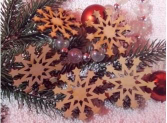"""Снежинка/дерево """"Новогодняя звезда"""" d5см (набор 5шт)"""