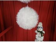 Шар новогодний Ø15/ мишура со снежинками (1шт)