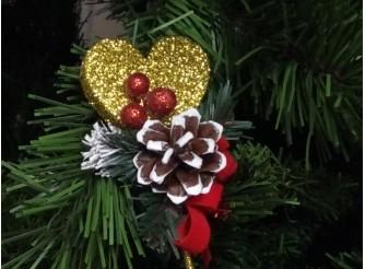 """Декор из пенопласта """"Новогоднее сердечко"""" Ø5см / стикер (1шт)"""