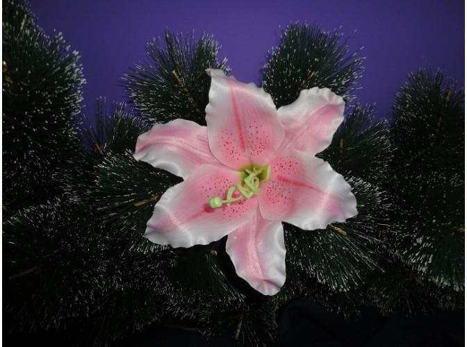 """Цветочная головка """"Лилия розовая""""/атлас/ Ø17см (1шт)"""