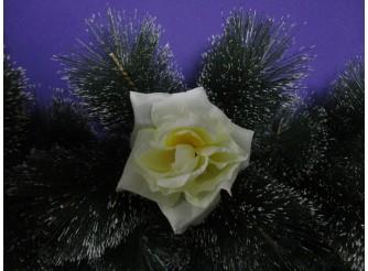 "Цветочная головка роза ""Барби"" бело-желтая Ø9,5см (1шт)"