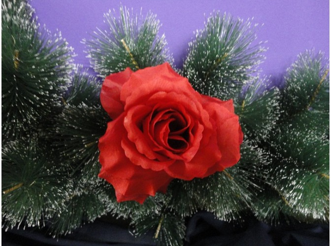 "Цветочная головка роза ""Лола"" красная Ø11см (1шт)"