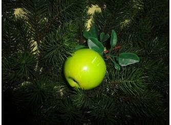 """Муляж """"Яблоко"""" крупное зеленое на ветке (1шт)"""
