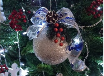 """Новогодний шар с декором """"Новогоднее настроение"""" Ø12 см (1шт)"""