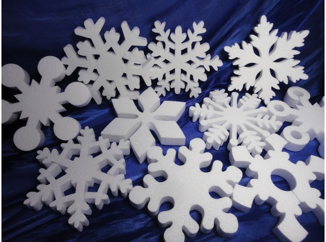 Снежинка из пенопласта Ø 12 см (1шт)