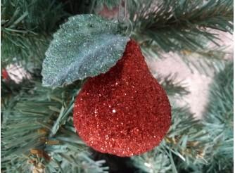 """Новогоднее украшение """"Красная груша с листочком"""" h12см (1шт)"""