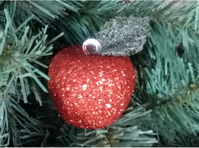 """Новогоднее украшение """"Красное яблоко с листочком"""" h8 см (1шт)"""