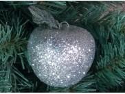 """Новогоднее украшение """"Серебряное  яблоко с листочком"""" h8 см (1шт)"""