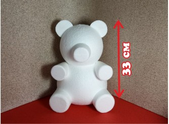 "Основа из пенопласта 3D ""Мишка Тедди Роуз"" h33 cм (1шт)"