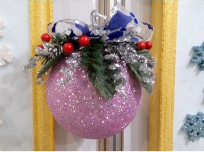 """Новогодний шар с декором """"Сиреневый туман"""" Ø12 см (1шт)"""