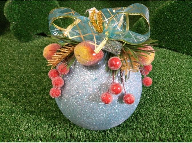 """Новогодний шар с декором """"Голубой с сахарными яблочками"""" Ø12 см (1шт)"""