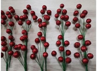"""Декор """"Блестящие ягоды на ветке"""" (10 наборов  в упаковке)"""