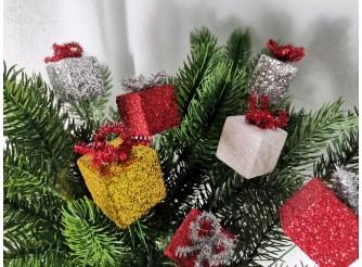 "Декор ""Мини - подарки на проволоке"" 3*3*25 см ( набор 6 шт)"
