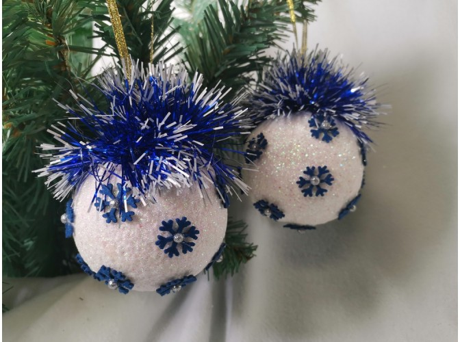 """Новогодний шар с декором """"Синий - синий иней"""" Ø8 см (1шт)"""
