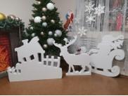 "Заготовка из пенопласта ""Дед Мороз на санях"" h100см (1шт)"