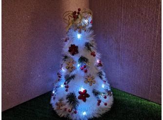 """Новогодняя елка """"Белоснежное великолепие"""" с мини - гирляндой (1шт)"""