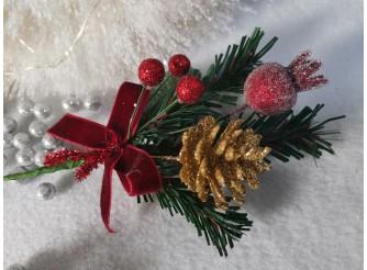 """Букетик новогодний """"Новогоднее чаепитие"""" 16см (1шт)"""