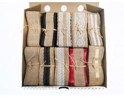 Комплект декоративных лент из мешковины