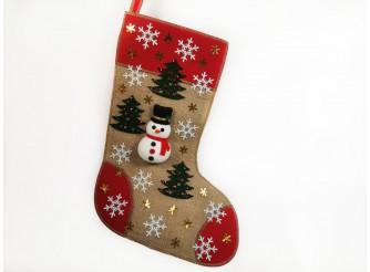 """Рождественский носок """"Снеговик с елочками""""/красный 43*30 см (1шт)"""