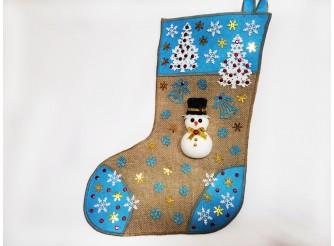 """Рождественский носок """"Снеговик с елочками""""/голубой 43*30 см (1шт)"""