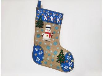 """Рождественский носок """"Снеговик с елочками""""/синий 43*30 см (1шт)"""