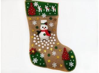"""Рождественский носок """"Снеговик с елочками""""/зеленый 43*30 см (1шт)"""