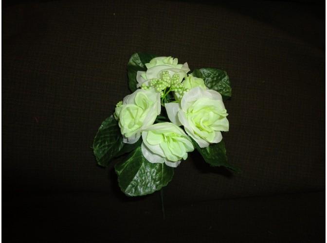 Мини-букет розочек бело-зеленый h21,см 5 голов(1шт)
