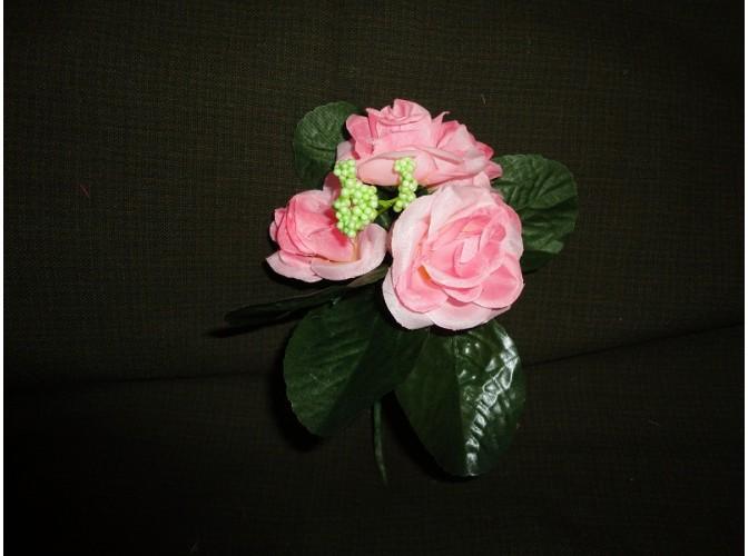 Мини-букет розочек розовый h21,см 5 голов(1шт)