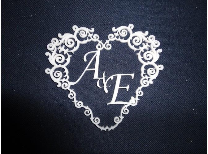 """Семейный герб """"Сердце виньеточное"""" с инициалами Ø80см, w5см (1шт)"""