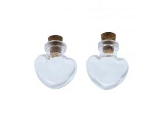 Стеклянная бутылочка с пробкой 'Сердце'/2шт/упак
