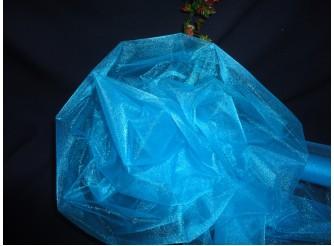 Органза - снег/ бирюза/ 70см х10ярд (рулон)