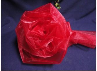 Органза - снег/ бордо / 70см х10ярд (рулон)