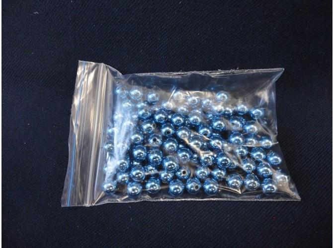 Бусинки 8мм/перламутровые синие  (20шт)